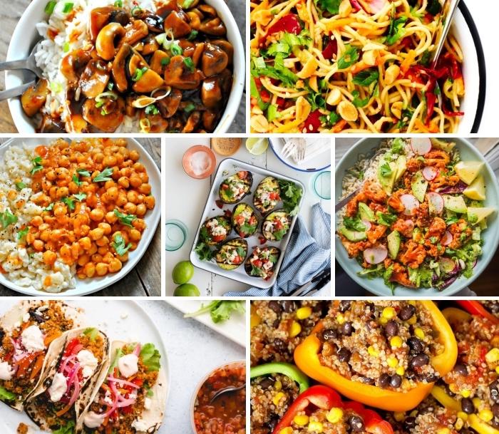 schnelle vegetarische gerichte, mittagessen ideen, gefüllte avocados, spagetti mit gemüse, reis mit kichererbsen