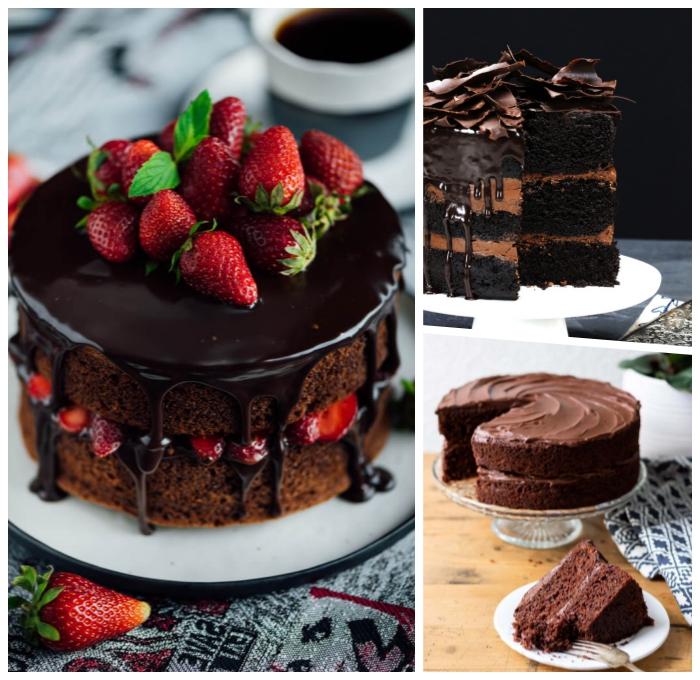 schoko frucht torte selber machen, schokokuchen mit erdbeeren, kuchen mit schokoalde