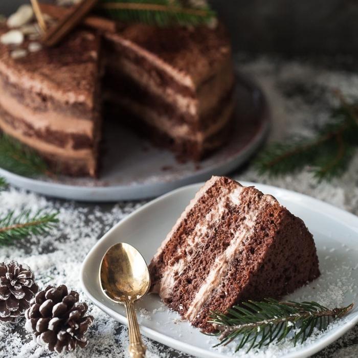 schoko mascarpone torte backen, kuchen mit schokoladensahne udn kakao, einfaches rezept