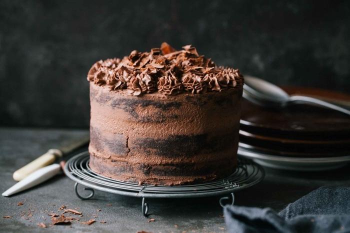 schoko mascarpone torte, kuchen mit schokoalde dekoriert mit buttercreme, schokokuchen
