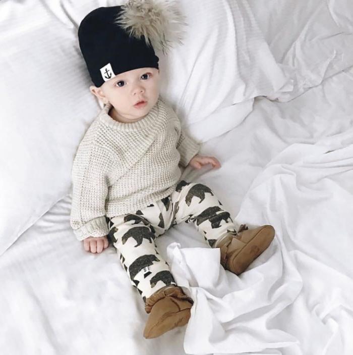 skandinavische mode marken, moderne kleidung für babys und kleine kinder, einen hut mit pompom
