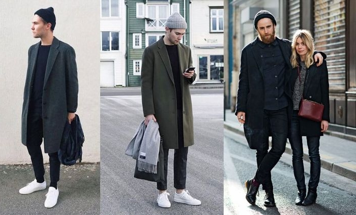 skandinavische mode marken, collagebild mit skandinavisch dunkel angezogenen menschen
