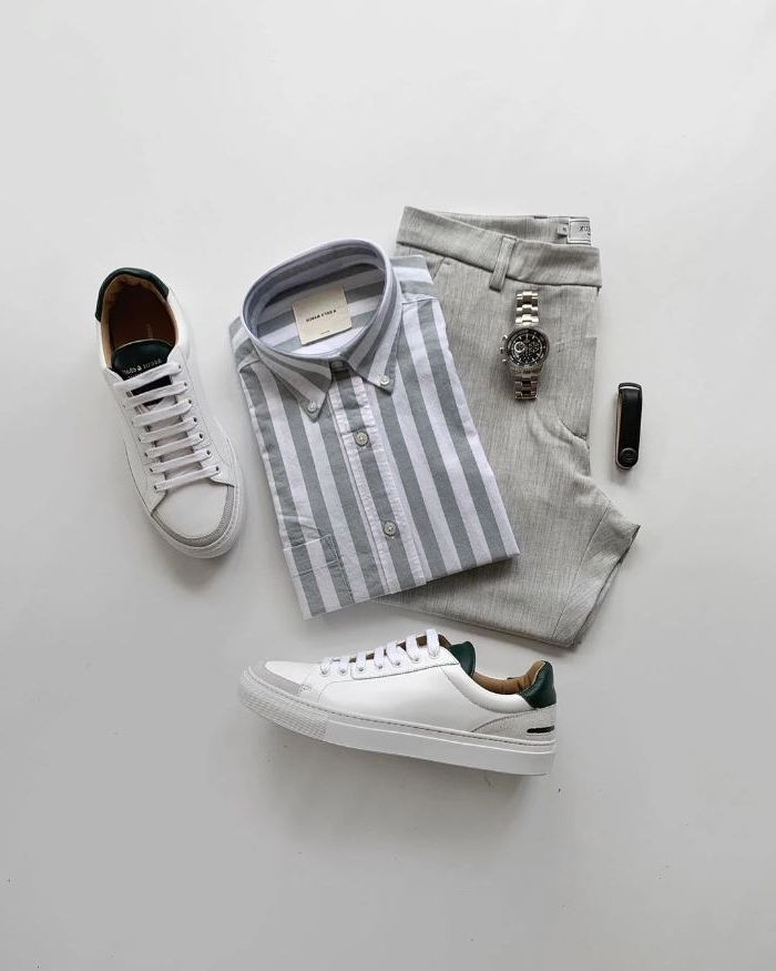 kataloge damenmode, casual ideen für frauen und männer, grau weiß und blau kombination, adiddas sneaker