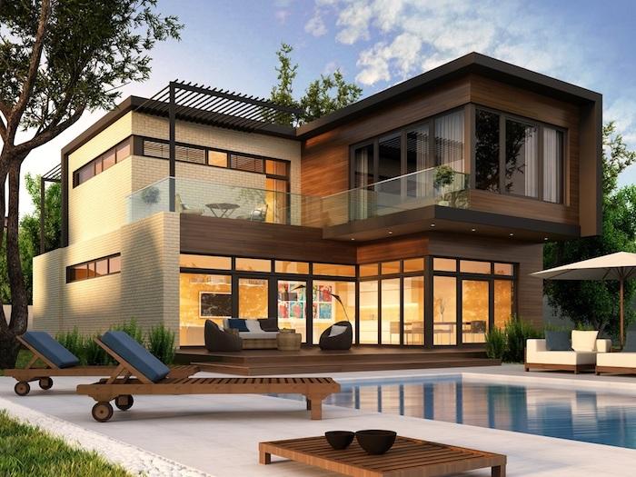 Modernes Haus mit Pool, leben im Zuhause der Zukunft, Smart Home Vorteile im Überblick