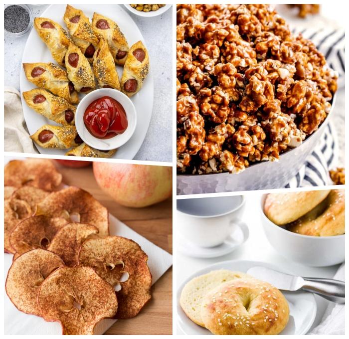 snacks für unterwegs, einfache rezepte, popcorns mit karamell, apfelringe mit zimt, gebäcke mit würstchen