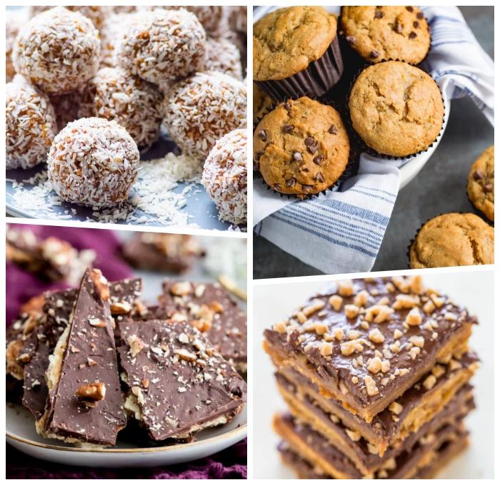 snacks für unterwegs, energy vites mit kokos, gesunde muffins, eigel mit keksen und schokolade