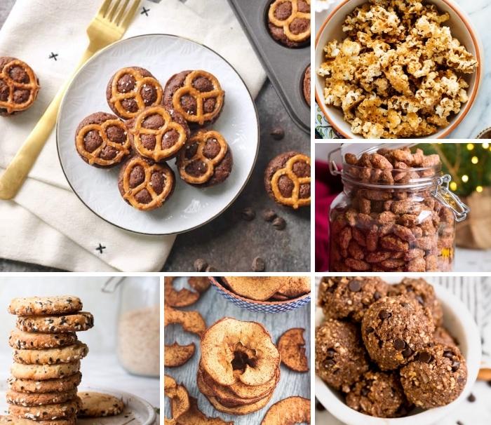 snacks für unterwegs, muffins mit brezeln, energy bites mit chikoladenchips uns nüssen, kekse mit sesamsamen