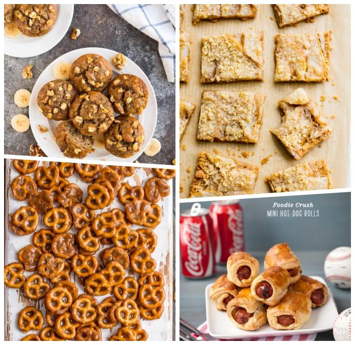 snacks für unterwegs, partyessen ideen, mini brezel mit karamell, muffins mit bananen und walnüssen