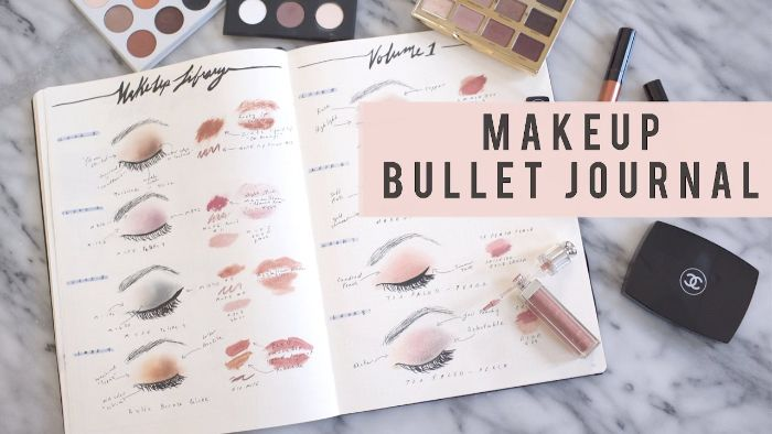 bullet journal ideen januar, schminke tagebuch, deko bunte farben, wimperntuschee