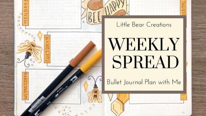 bullet journal ideen januar, meine wöchentliche aufteilung, gelb, braun und orange motiv farben des tagebuches