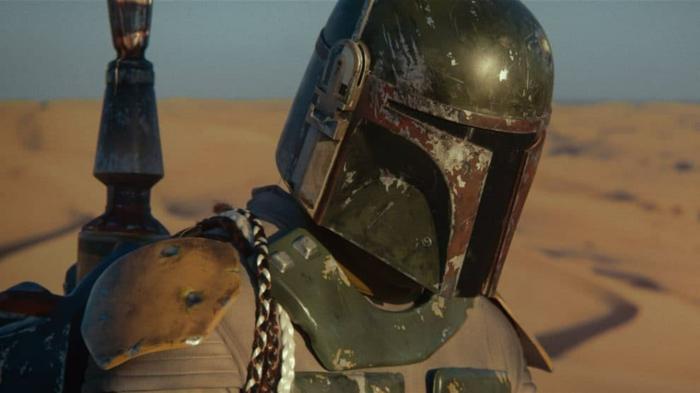 die Ausrüstung mit dem Helm von Jango Fett, Boba Fett in der Wüste von Mandalorian