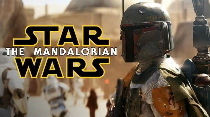 Star Wars The Mandalorian, Boba Fett in einer Rüstung, die Aufschrift von der Serie