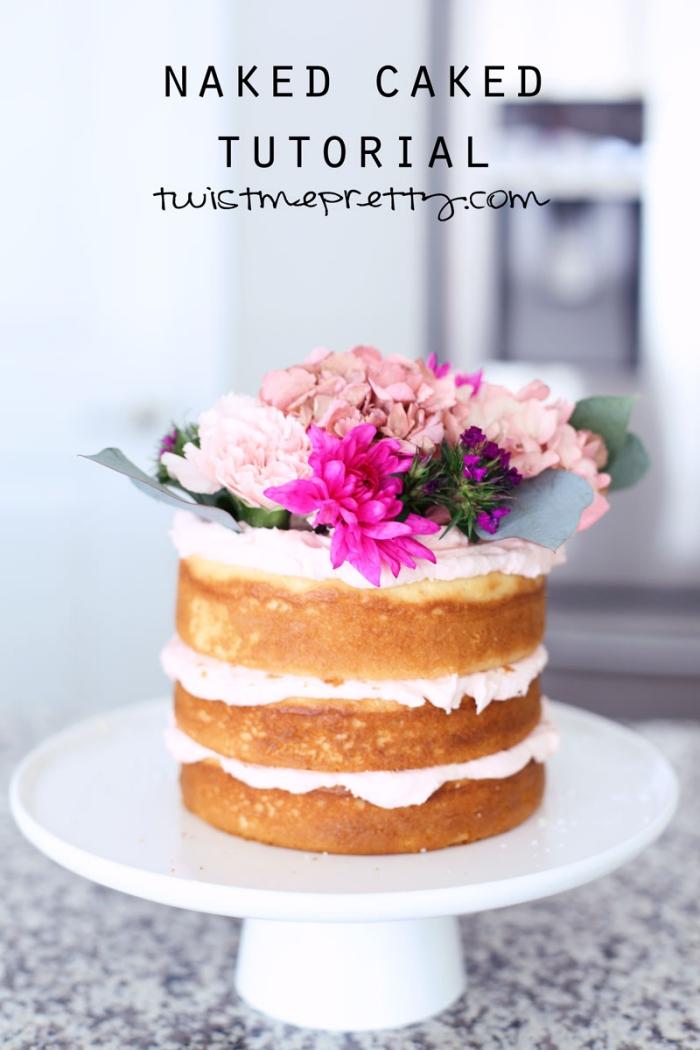 tortenbodne mit vanille, torte 20 cm, sahne mit erdbeeren, naked kuchen rezept