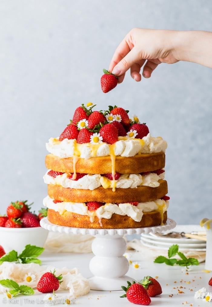 torte mit fertigboden, tortenbodne mit vanille, sahne, erdbeeren, sommerparty essen ideen