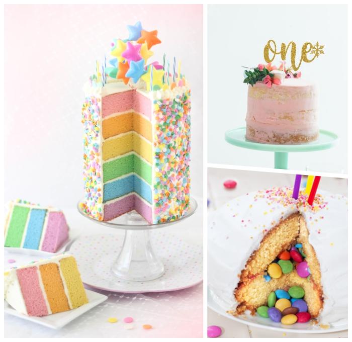 torte zum 1 geburtstag ideen, kuchen mit boden in den regenbogenfarben, pinata torte, geburtstagskuchen