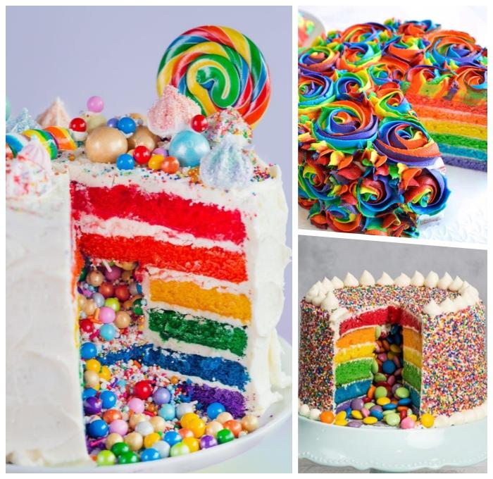 torten für kinder ideen, geburtstagskuchen in den regenbogenfarben, bunte bonbons, piata torte