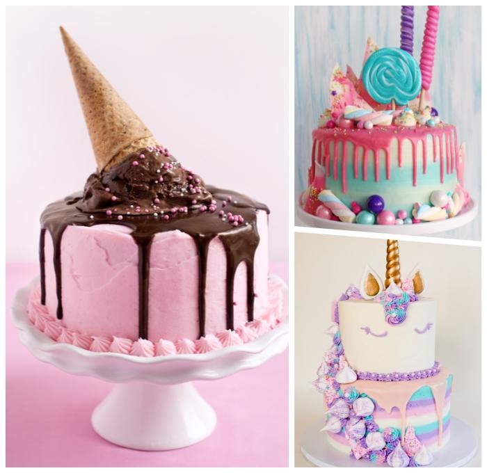 torte zum 1 geburtstag, eiscremetorte selber machen, torte dekoriert mit rosa creme und ganache