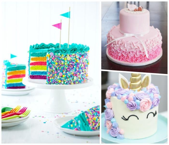 torte mit fondant dekorieren, einhorn kuchen, bunte tortenboden, geburstagskuchen für kinder