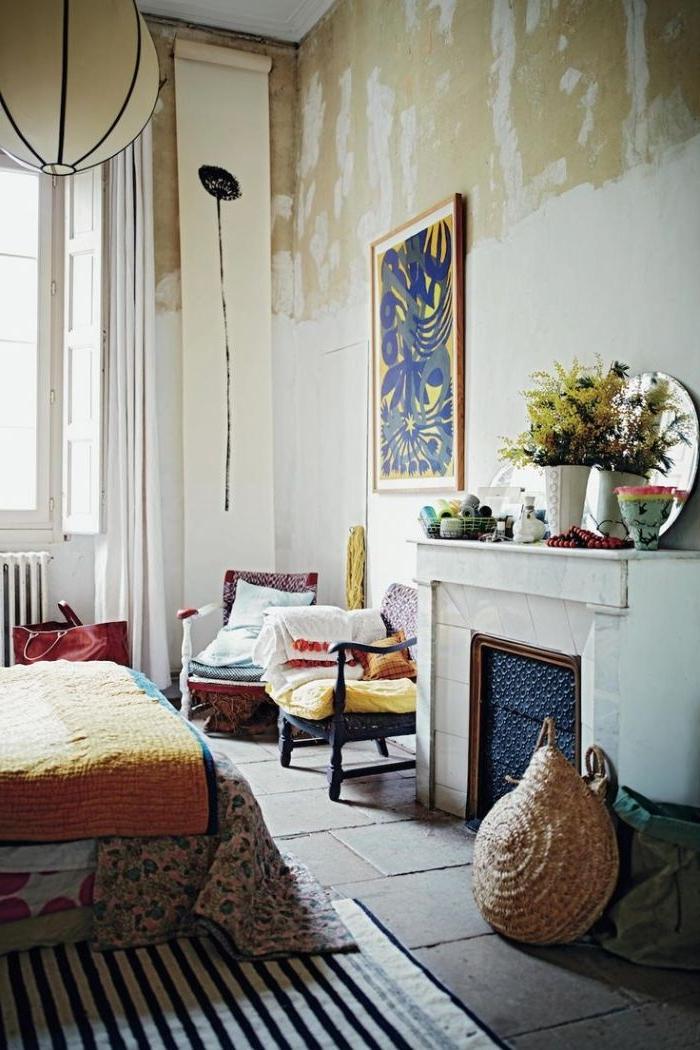 schlafzimmer design im ethno orientalischen stil und bohemian touch, wandbild in blau