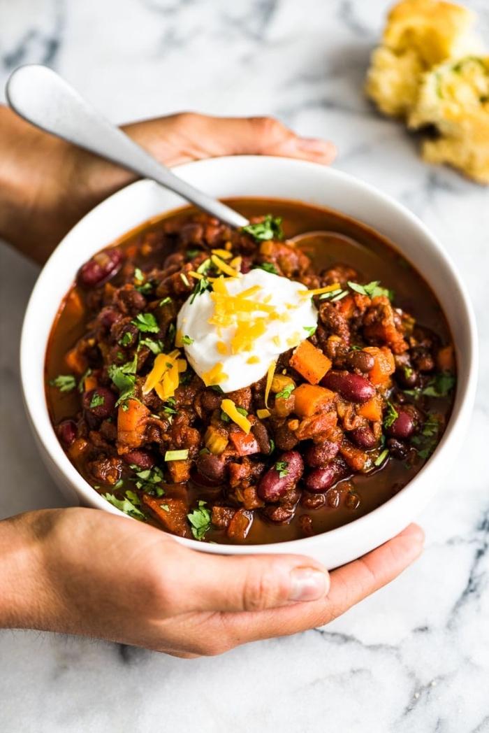 gesunde suppe ohne fleisch, was koche ich heute vegetarisch, mittagessen ideen, bohnen, karotten