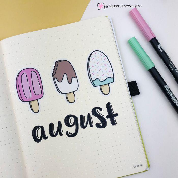 bullet journal notizbuch dotted, august, drei kleine eis stiele, rosa design, weiß mit schoko überguss