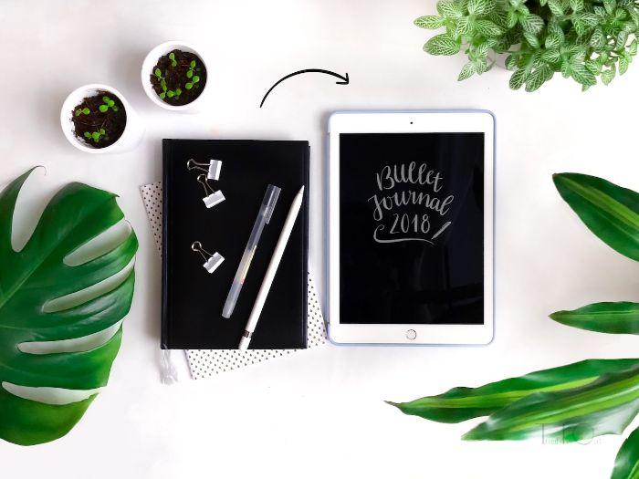bullet journal notizbuch dotted, schwarz tafel ideen, grüne pflanzen, deko weiß auf schwarz