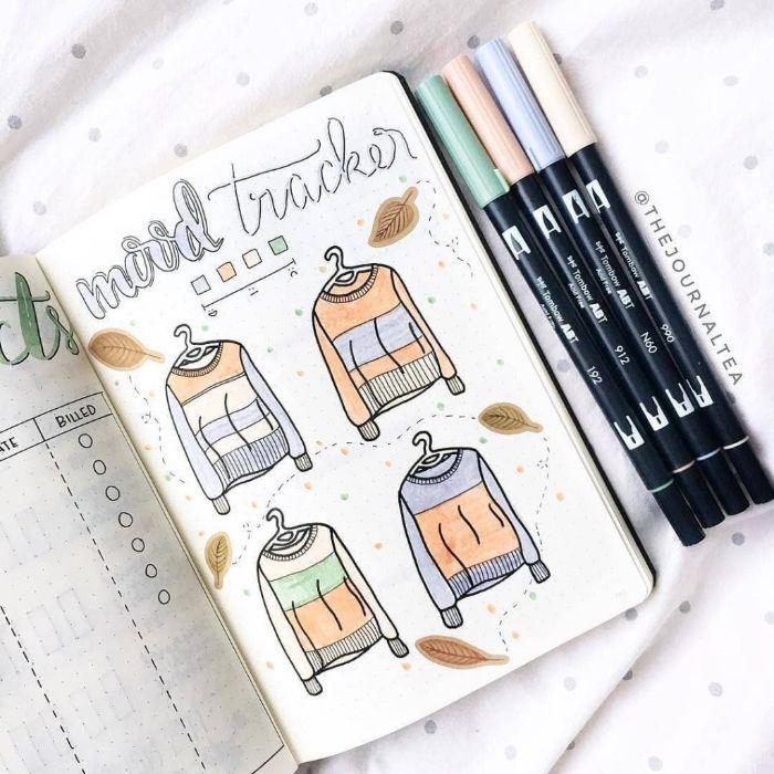 bullet journal notizbuch dotted, heft mit coolem design, selber malen und dekorieren, fashion inspo