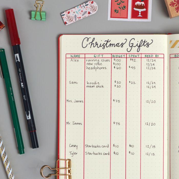 bullet journal notizbuch dotted, eine liste mit geschenken zu weihnachten erstellen, stifte rot und grün