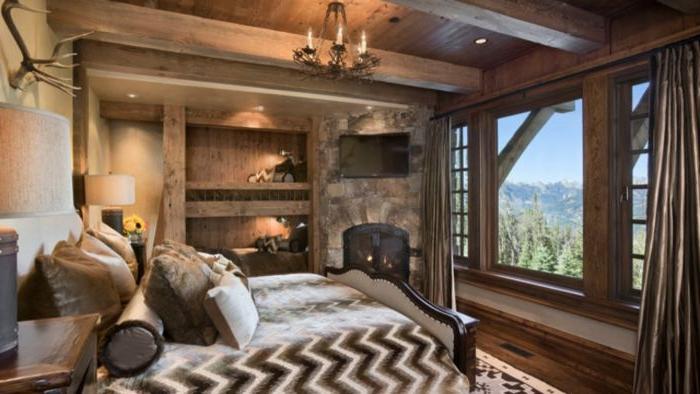 schlafzimmer ideen wandgestaltung, braune zimmerdesignidee, holzhaus, villa im den gebirgen