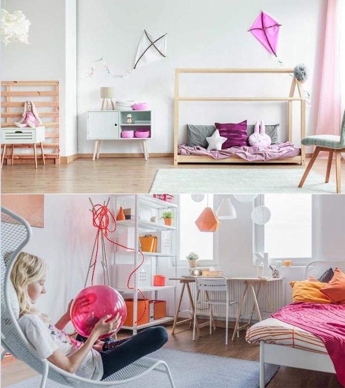 bilder fürs schlafzimmer, bunte ideen, rosa und orange, eine mama sitzt im stuhl im zimmer