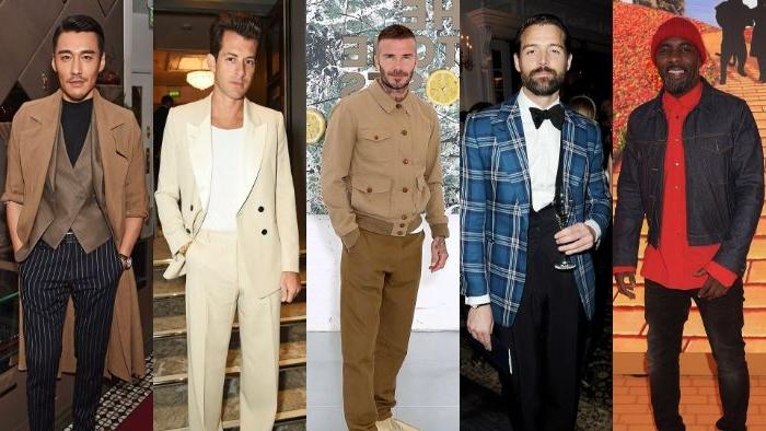 schuhe 20er jahre, fünf modele, david beckham in der mitte, moderne stilikone männerlooks