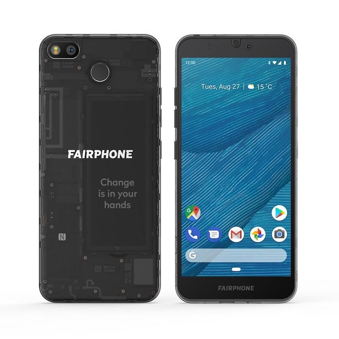 handy mit einem blauen bildschirm, zwei schwarze smartphones fairphone 3 mit vielen kleinen austauschbaren modulen