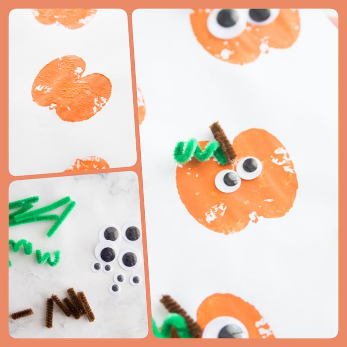 Stempel aus Apfel selber machen, Halloween Kürbis malen, Wackelaugen und Stücke Pfeifenreiniger kleben