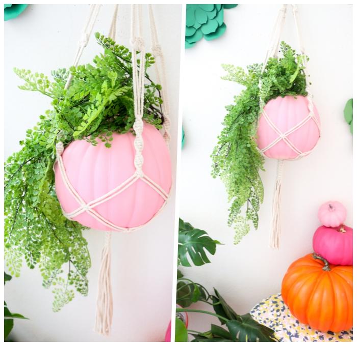 basteln hebst mit naturmaterialien, rosa kürbis, pflanzentops selber machen, blumentopf, hängende deko
