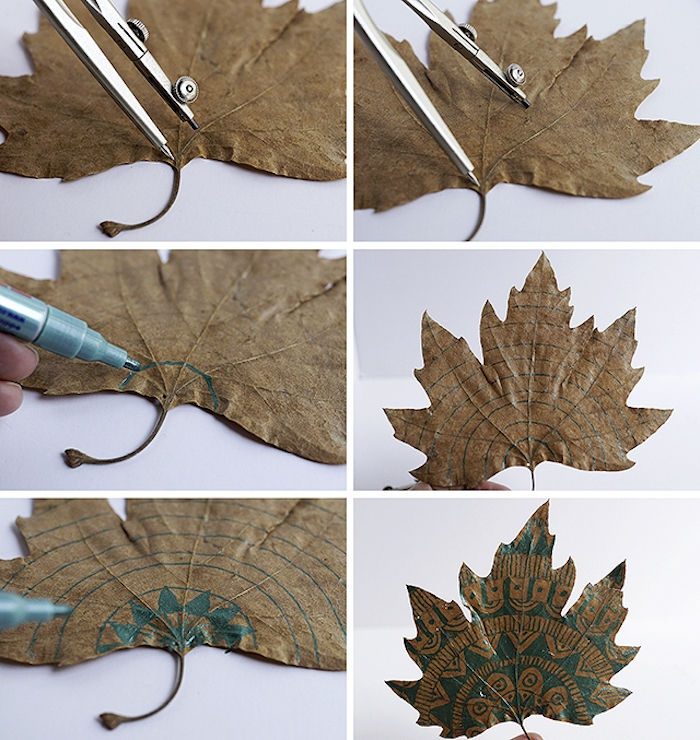 Mandala Herbstblätter selber machen Schritt für Schritt, DIY herbstliche Dekoration