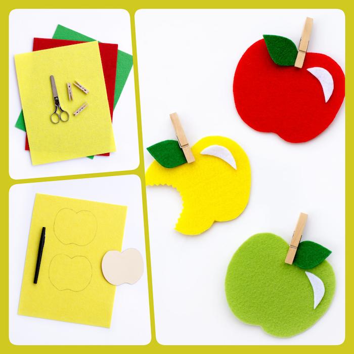 Ideen für Basteln mit Kindern, bunte Äpfel aus Filz schneiden, herbstliche Deko basteln