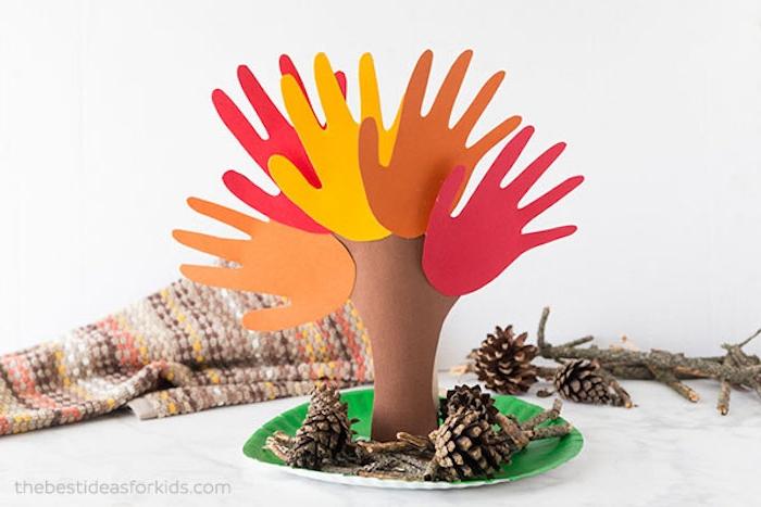 Herbstbaum aus Papier mit Kindern basteln, Zweige aus Handabdrücken, Herbstdeko Ideen