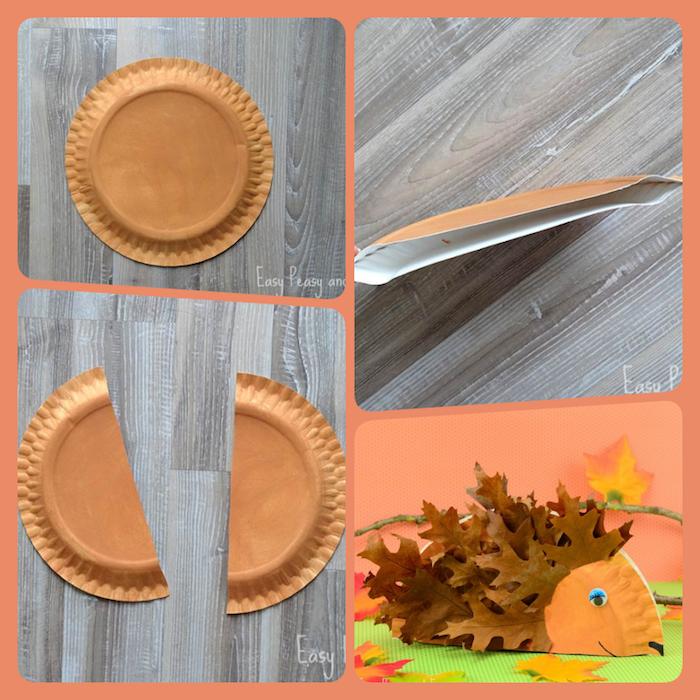 Igel aus Pappteller selber machen, Herbstblätter für Stacheln kleben, Basteln mit Kindern im Herbst