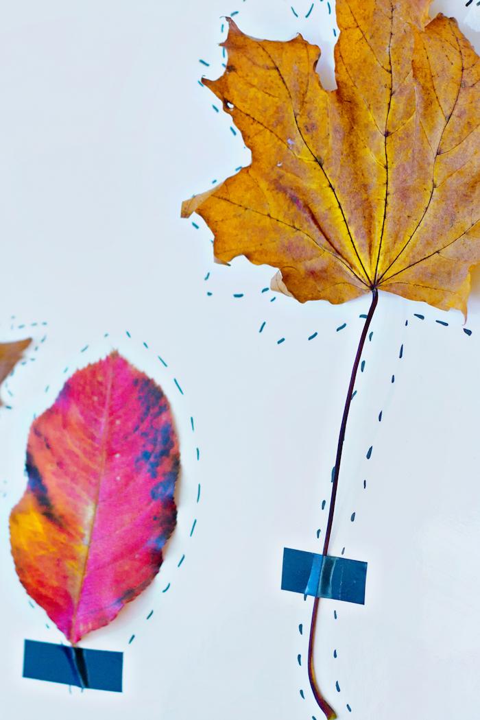 Gelbe und rote Herbstblätter auf Papier mit Klebeband kleben, mit Filzstift nachzeichnen