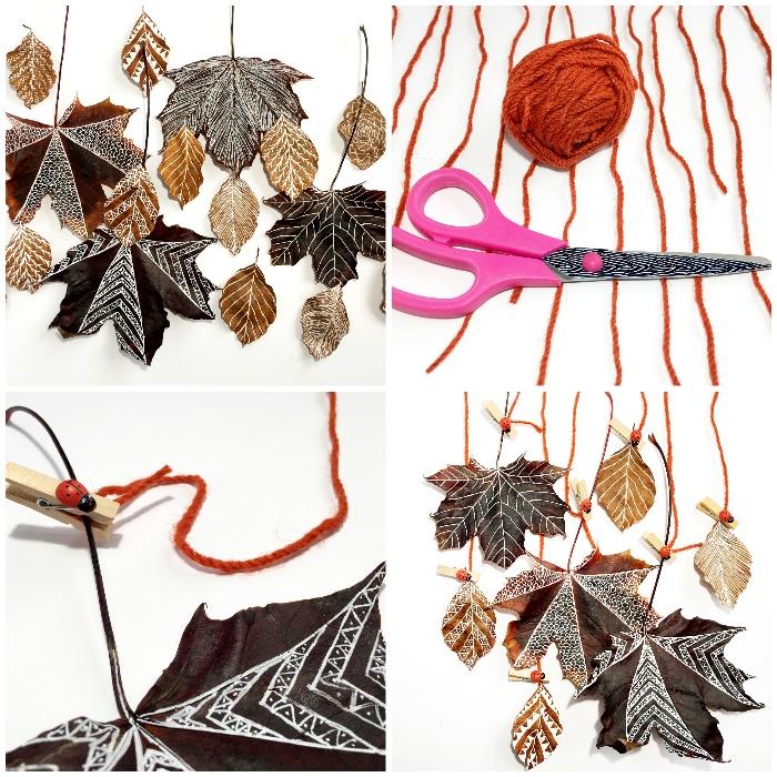 basteln mit naturmaterialien, diy mobile aus rotem garn und hebstblättern, hebstdeko