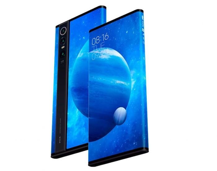 ein smartphone mit einem rundum display, ein bildschirm mit blauen planeten und vielen sternen, das xiaomi mi mix alpha