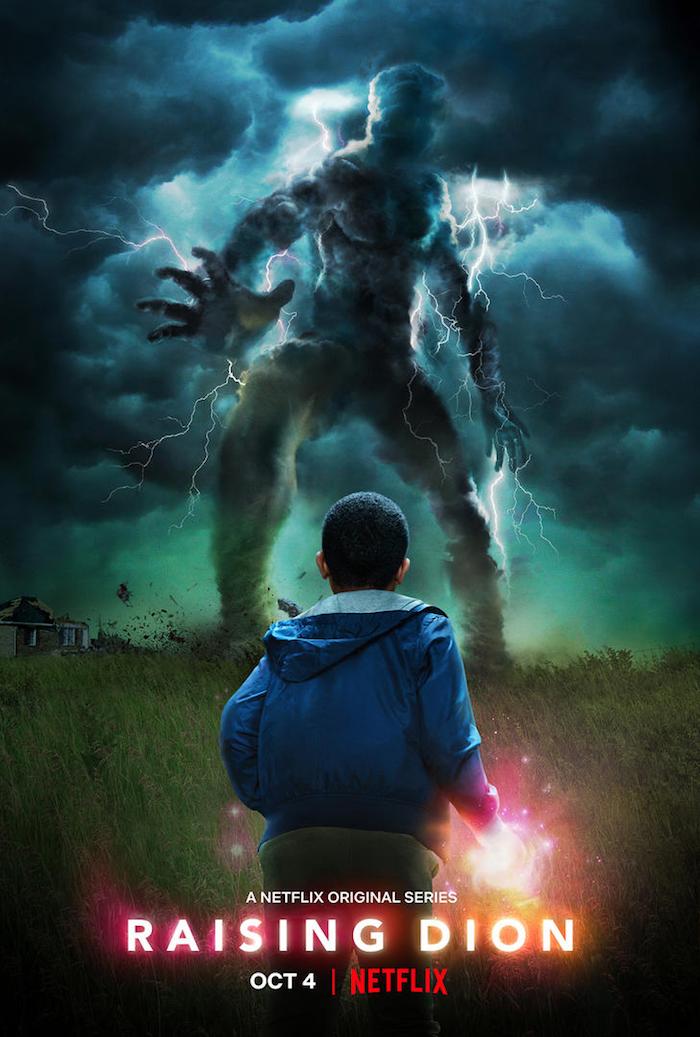 ein großes monster und kleines kind mit übernatürlichen kräften, poster zu der serie raising dion von netflix