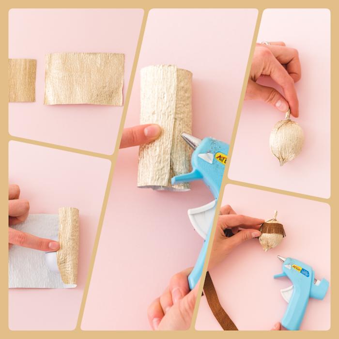 Schritt für Schritt Anleitung für DIY Eicheln aus Papier, zu Hause herbstlich dekorieren