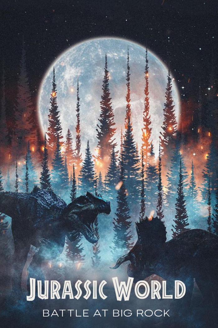 jurassic world battle at big rock, poster zu dem kurzilm mit zwei großen dinosauriern, ein wald mit bäumen und feuer in der nacht, großer weißer mond