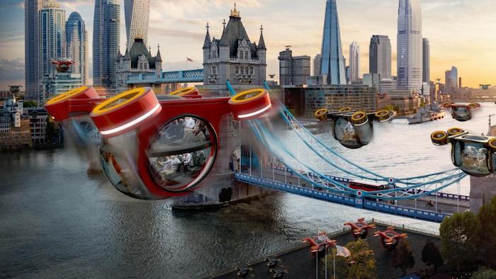 eine futuristische stadt mit fliegenden roten taxis und einem fluss, samsung beschreibt die zukunft