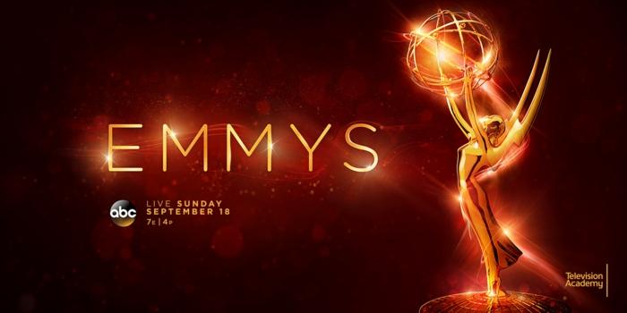 ein altes Poster von Emmys ohne Moderatoren mit funkelnden Flamen