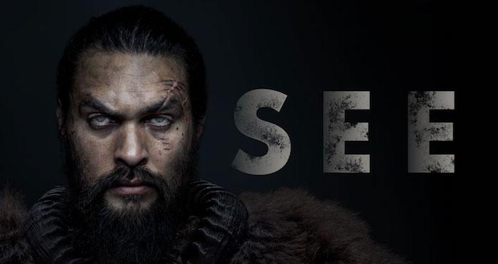 der schauspieler jason momoa in der neuen serie von apple tv plus namens see, erster trailer zu see,ein mann mit schwarzem bart