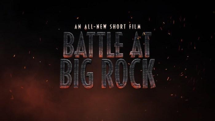 ein poster zu dem neuen kurzfilm jurassic world battle at big rock von dem regisseur colin trevorrow