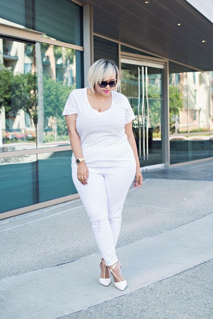 frisuren für runde gesichter die besten ideen, hebst outfit in weiß, kurze blonde haare
