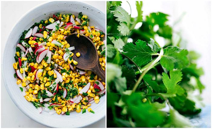 Füllung für Tortillas selber machen, aus Mais, Radieschen und fein gehackter Petersilie